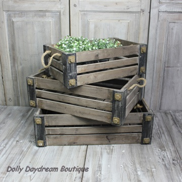 Industrial Vintage Style Wooden Crate, Rope Handles, Storage Box, Fruit Box