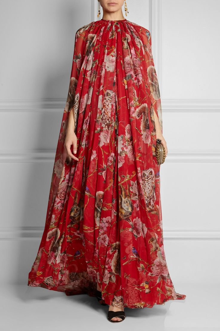 Dolce & Gabbana | Printed silk-chiffon gown. If you look closely it's covered in owls, squirrels and rabbits. | NET-A-PORTER.COM