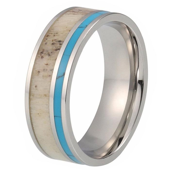 8mm Tungsten Wedding Band Ring with Deer Antler and Turquoise Inlay