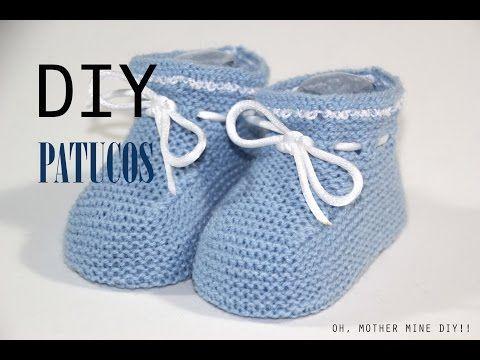 ▶ ESCARPINES, PATUCOS, ZAPATITOS para bebe de 3 a 6 meses. Tejido con dos agujas # 149 - YouTube
