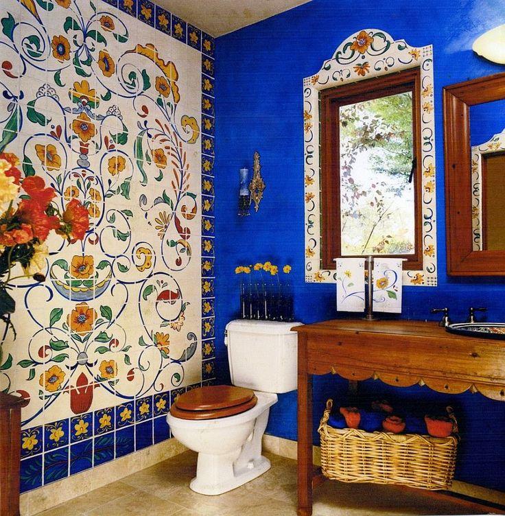 Faux tile wall mural creates a fun focal point in the bathroom