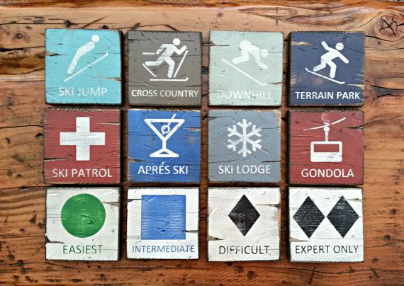 "ANY SET of 4 Drink Coasters You pick  Ski Theme by DollickDesigns Could use for wall either larger 12"" or framed"