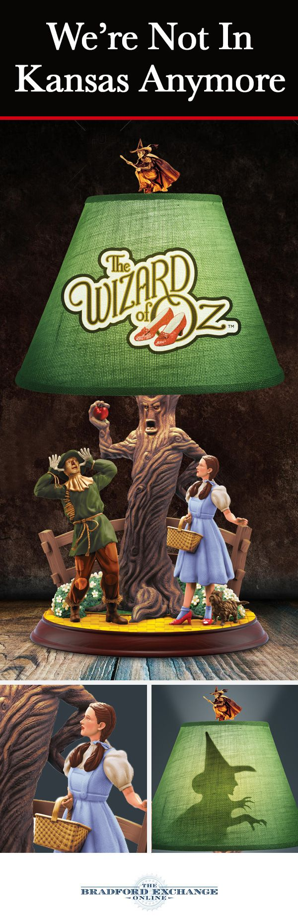 Relive a memorable moment from THE WIZARD OF OZ with the flick of a switch. This enchanting table lamp showcases a fully-sculpted scene between DORTHY and SCARECROW. Plus, a silhouette of the WICKED WITCH is revealed on the back of the custom shade when lit.
