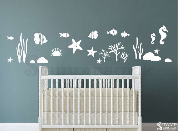 Fish Wall Decal Sea Border Vinyl Wall Decal by stampmagick