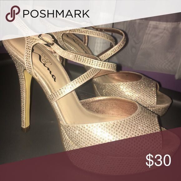 Champagne color heels Champagne/gold sparkly stilettos with straps. Great for prom! Shoes Heels