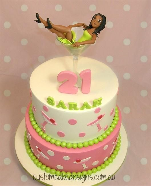 Martini Girl in Glass 21st Cake by Custom Cake Designs