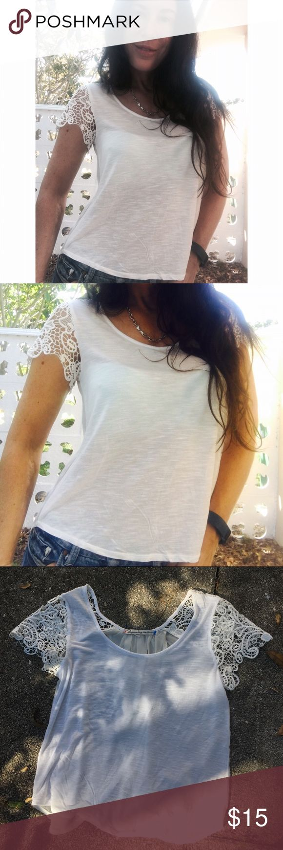American Rag top small Cute top with lace sleeves back is somewhat sheer American Rag Tops