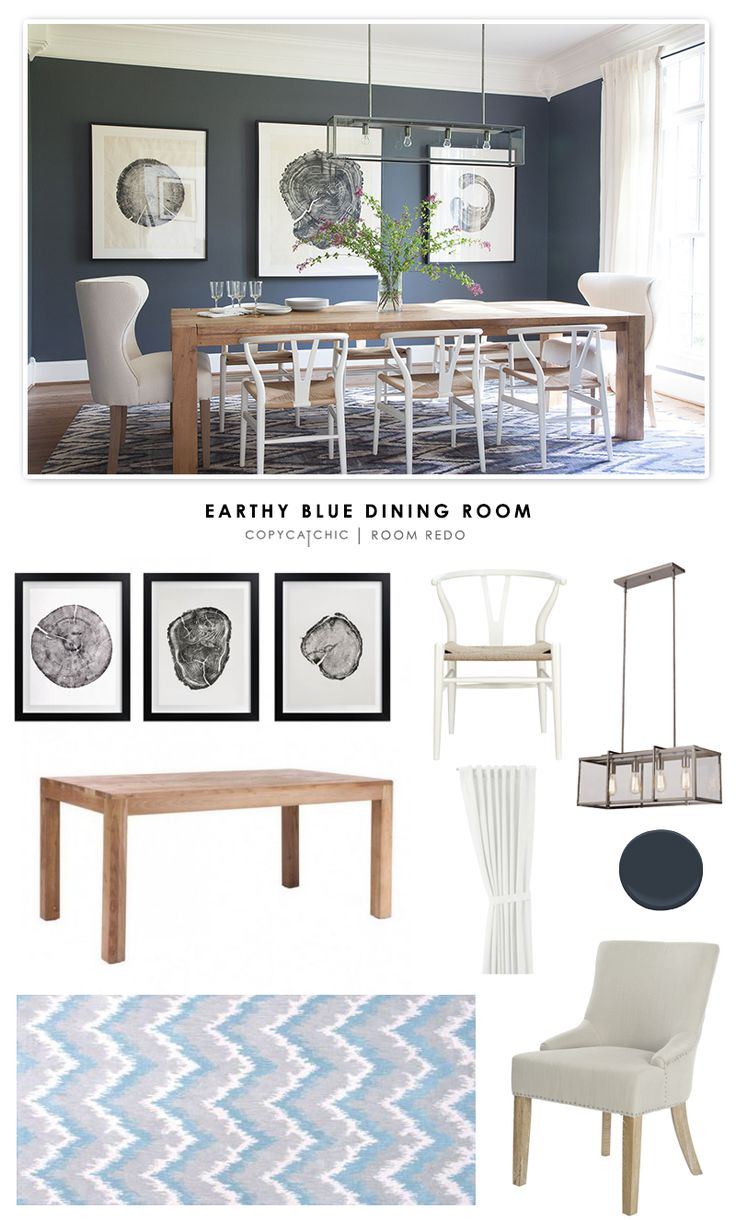 Copy Cat Chic Room Redo | Earthy Blue Dining Room   What do you think? Do dark, or nice contrast with your clean, white kitchen?