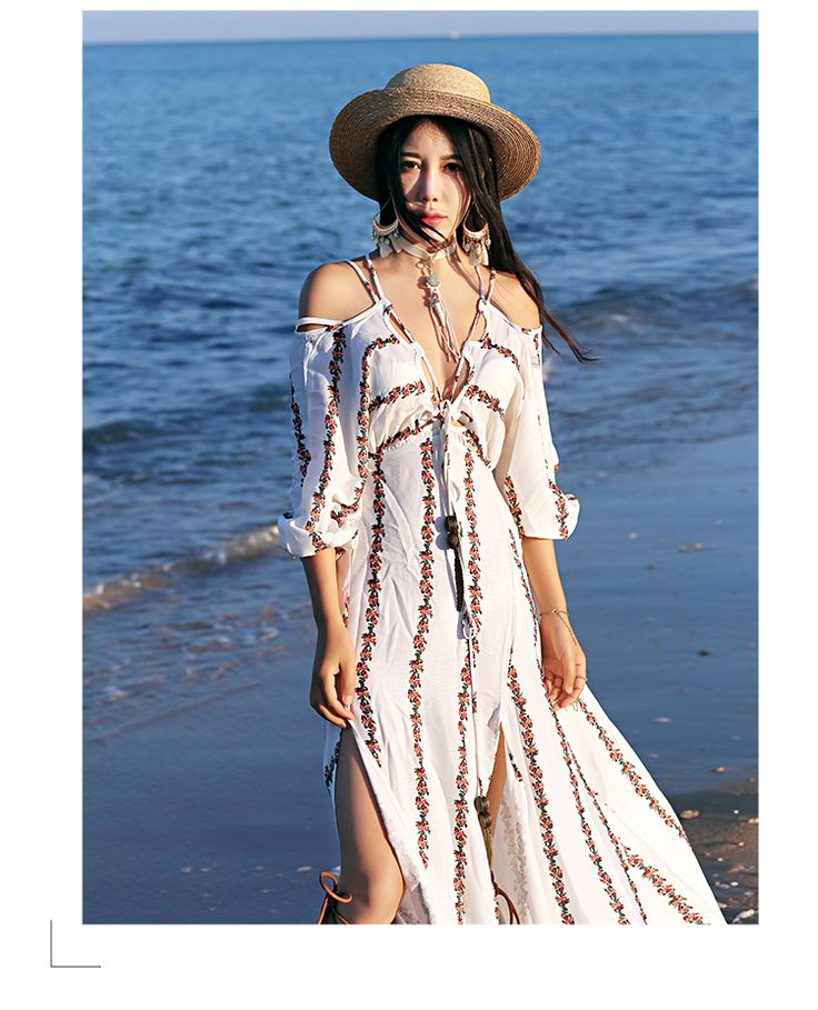 MAI XU Floral Stripes Beach Dress15