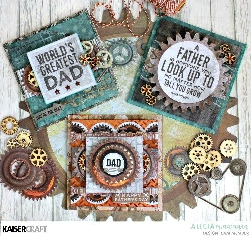 """"""" Father's Day Cards"""" Project by Alicia McNamara Design Team member for Kaisercrraft Official Blog. Featuring their August 2017 """"Factory 42"""" Collection. Learn more at kaisercraft.com.au/blog ~ Wendy Schultz ~ Cards 1."""