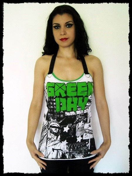 Green Day Halter Top Shirt M by kittyvampdesigns on Etsy, $44.99