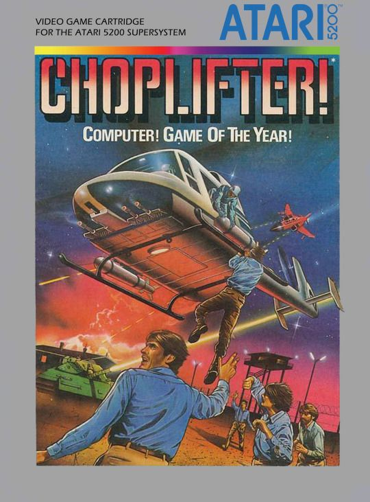 Choplifter (Atari 5200, 1982) Also on Commodore 64, where I played it.  Loved this game!