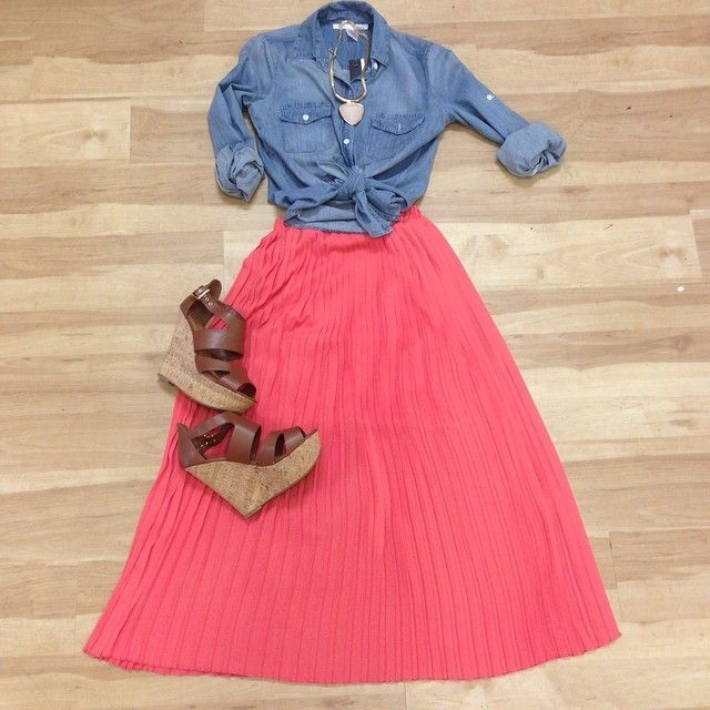 Coral maxi skirt, denim top and cognac wedges is a spring look that will turn heads!