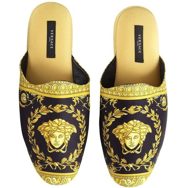 Versace Home I Heart Baroque Slippers With Case (£315) ❤ liked on Polyvore featuring shoes and slippers