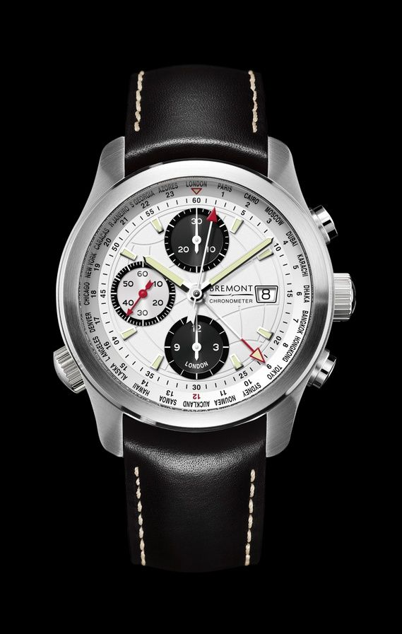 """Baselworld 2012: Bremont World Timer ALT1-WT. """"Design features of the Bremont C-17 include the etched globe on the dial and a Roto-Click bezel that enables the user to work out the global time zones using the International Civil Aviation Organization (ICAO) airfield identifiers. Each identifier represents a C-17 landing location in all 24 time zones. The watch itself can show UTC or 'Zulu' time through its adjustable 24-hour hand."""""""
