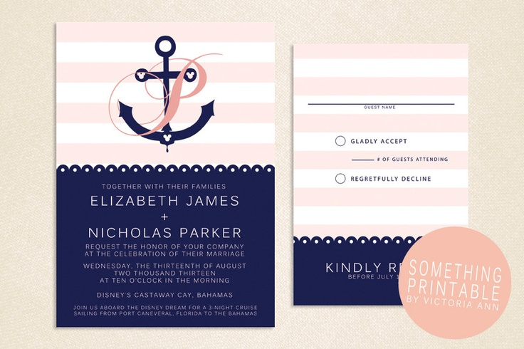 Rachel Printable Cruise Line Inspired Anchor Wedding Invitation Design 20 00 Via Etsy I Wish D Thought Of That Pinterest