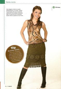 Falda de Crochet con Tachuelas Instrucciones - Patrones Crochet