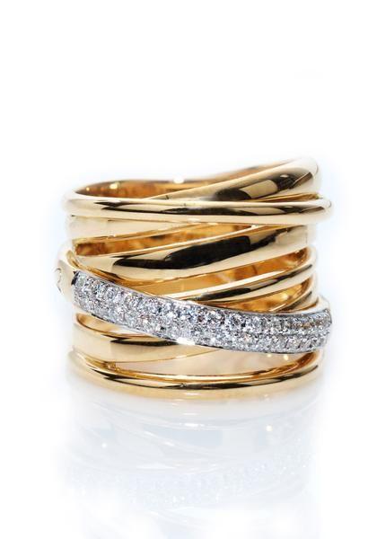 K di Kuore - K. Di Kuore Diamond Crossover Ring from Osterjewelers.com