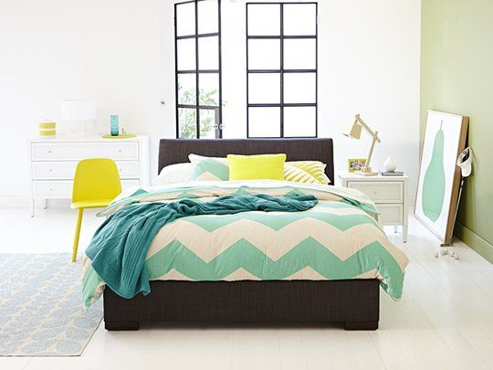 Kenton Bed Frame (Slate): Queen Bed Frame