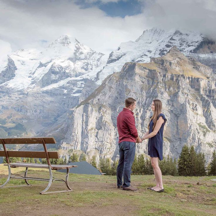Joe proposes to Helen in the mountains around Murren. Photographer surprise wedding proposal in Murren #photographer #switzerland