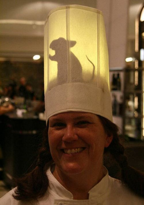My boyfriend's in school to be a chef. We are so doing this to his hat one year for Halloween. XD