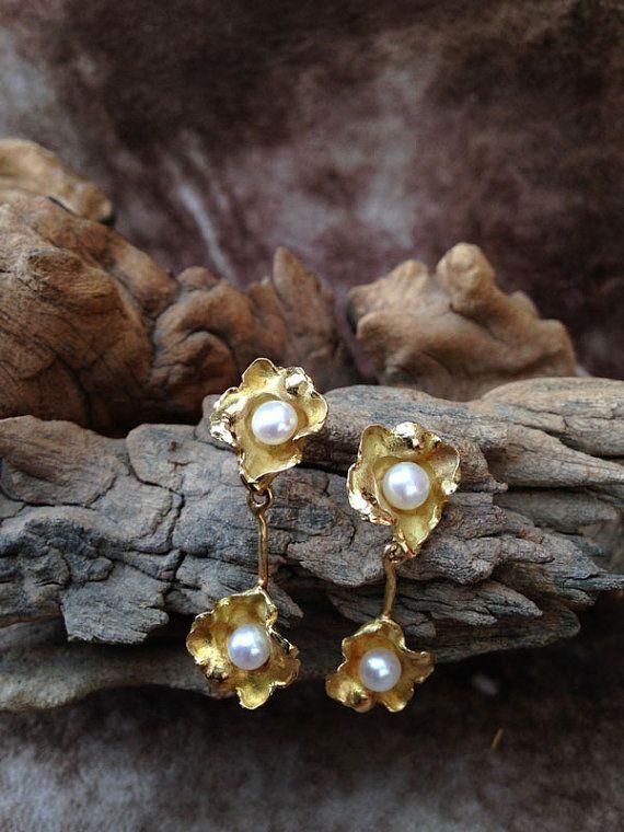 Pendientes de oro amarillo de 18k semipulidos con por JLLjoies