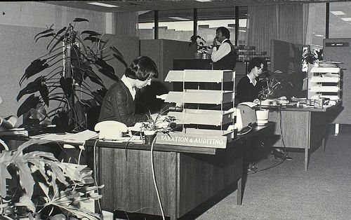 1970s secretary open plan office. #tafe #education #geelong #learning