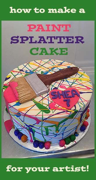 How to make a Paint Splatter Cake.  Could use for a Paintball party without the paintbrush!