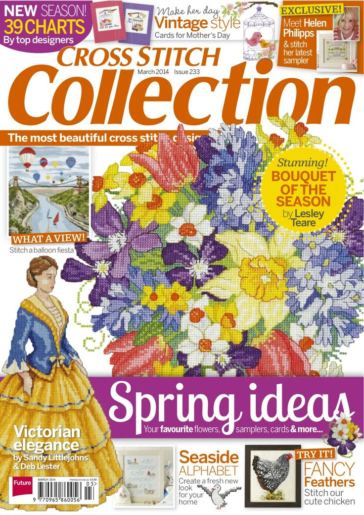 Front cover of the new Cross Stitch Collection! Get issue March 233 at http://www.myfavouritemagazines.co.uk/stitch-craft/cross-stitch-collection-magazine-back-issues/cross-stitch-collection-march-14-issue-233/