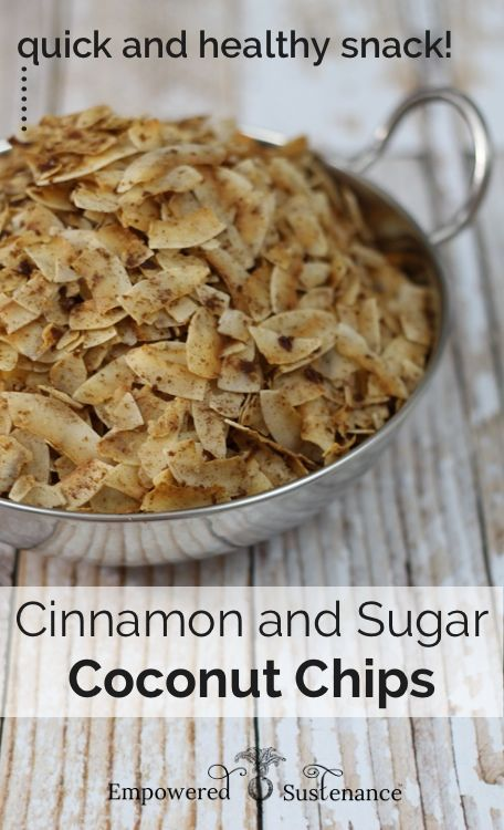 Quick and healthy snack alert… these are amazing! Paleo Cinnamon Sugar Coconut Chips ~