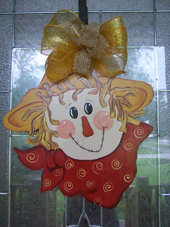 Scarecrow Door Hanger Happy Harvest Fall Door by samthecrafter, $35.00