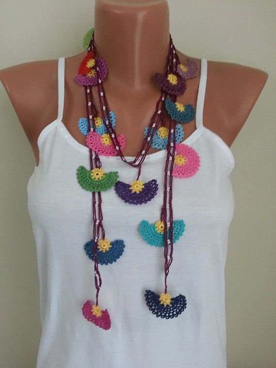 Beadwork necklace Crochet beaded necklace by elegantaccessoryshop