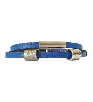 JT Two Turns Blue Leather Bracelet With Silver Metals