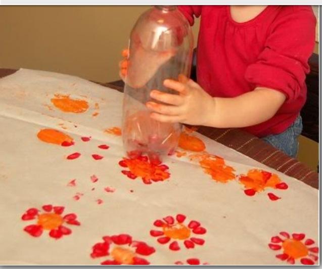 Paint Spring Flowers... (Bottom Of Plastic Bottle For