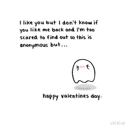 Happy Valentine's Day from our resident super-shy ghost. I managed to successfully dodge cupid's arrow for another year, so it was a just another happy day for me. :D