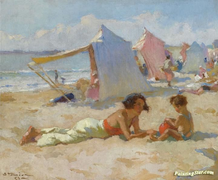 Playing On The Beach Artwork by Charles Atamian Hand-painted and Art Prints on canvas for sale,you can custom the size and frame