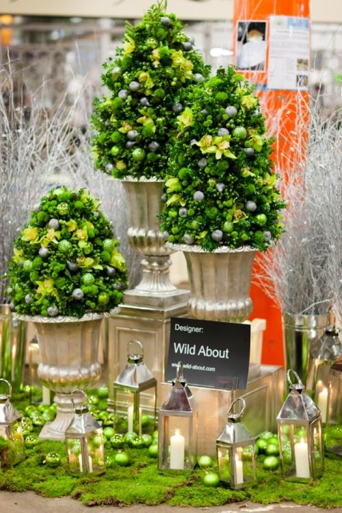 Festive Lime trees for tabletop: Gardens Flowers, Limes Trees, Topiaries Trees, Floral Design, Green Christmas, Flowers Marketing, Festivals Limes, Flower Market, Christmas Trees
