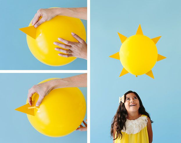 Turn any yellow outfit into a ray of sunshine Halloween costume by adding a yellow balloon. It's so easy to make and super cute for a girl or boy.