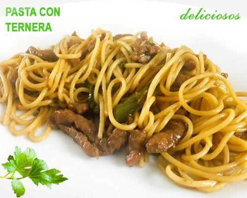 espaguetis con ternera y pimientos