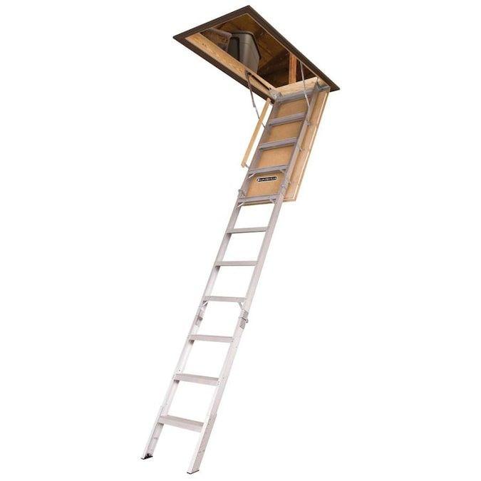 Century Elite 7 67 Ft To 10 25 Ft Type Iaa Aluminum Attic Ladder In 2020 Attic Ladder Attic Doors Attic Flooring