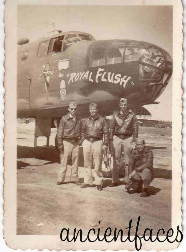 "The B-25 bomber was used heavily by many of the Allied air forces during World War II, and around the world through the late 1970's.  Seen here is the crew of the ""Royal Flush"" taken somewhere in Italy around 1942. Original post: http://www.ancientfaces.com/research/photo/367762/b-25-crew-wwii-family-photo"