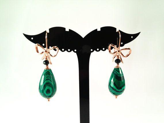 Malachite earrings in 925