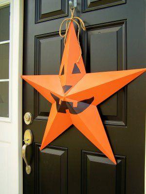 Jack 'O Lantern Barn Star...so cute & festive. Looks great against a black or brown door.