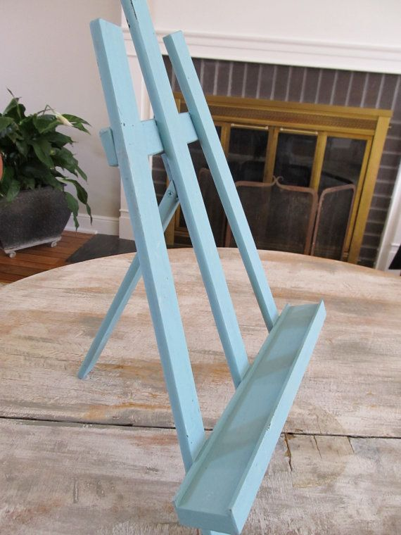 Large Table Top Chalk Painted Art EASEL Turquoise Wood FOLDABLE Annie Sloan PROVENCE Shabby Chic Cottage Shelf Rustic Craft Show Display