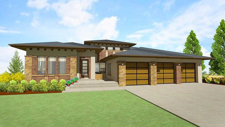 Modern Prairie House Plan for a Rear Sloping Lot - 64421SC | Modern, Prairie, 1st Floor Master Suite, CAD Available, Den-Office-Library-Study, In-Law Suite, Media-Game-Home Theater, PDF, Split Bedrooms, Sloping Lot | Architectural Designs