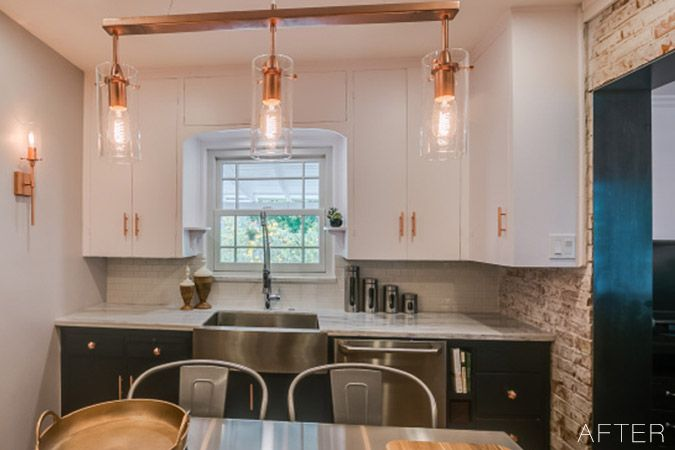 See the dramatic makeover of a 1930s kitchen, that included salvaging and reusing the original kitchen cabinets. Accents of copper and navy give give this home renovation a current look while keeping the spirit of its rich Arizona history