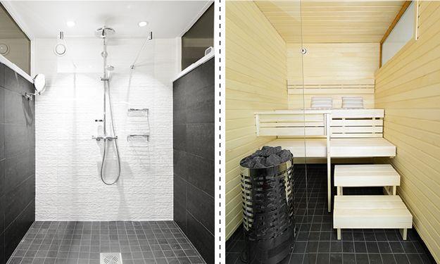 Kylpyhuone ja sauna, 9,5 m². Tähän mustavalkoiseen pesutilaan luonnonvaloa tuovat useat ikkunat. Tilan tuntua lisäävät myös saunan kokolasinen etuseinä sekä suihkualuetta rajaava lasiseinä.