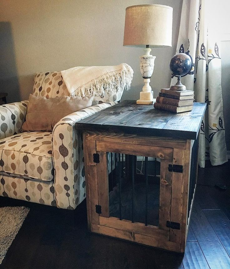 cool end table dog crate furniture | Instagram photo by @captain5505 | Diy dog crate, Dog crate ...