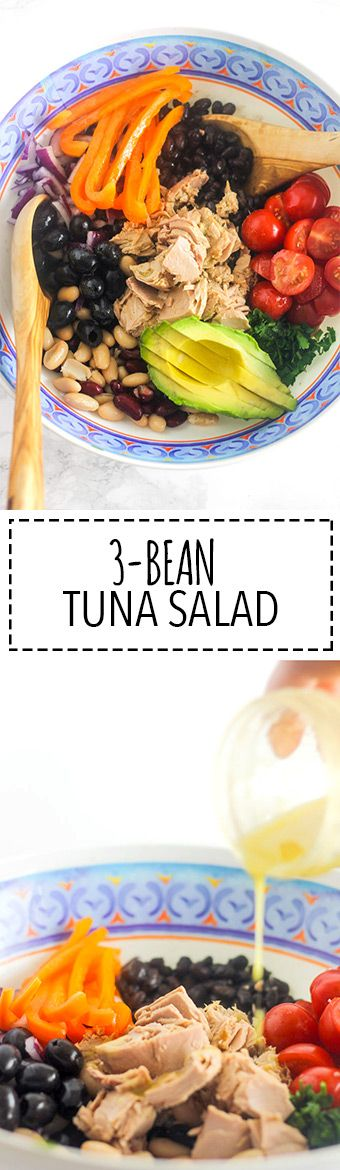 3-Bean Tuna Salad   Raising Sugar Free Kids - delicious, cheap, insanely quick (takes about 1-2 mins to make including prep) and as easy as opening a few cans. This is healthy eating at its cheapest, quickest and easiest, and includes a healthy portion of omega-3-containing oily fish as well as 6 portions of veg!