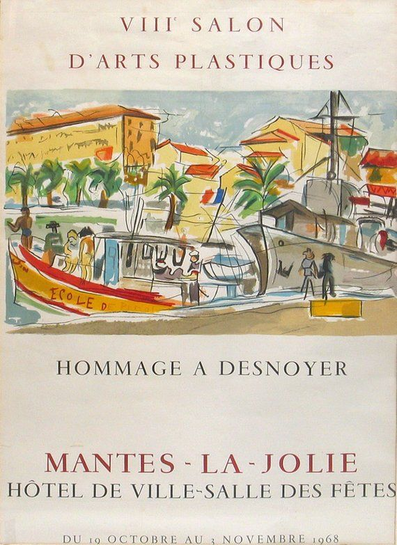Vintage Midcentury Lithograph Print Poster Francois Desoyner